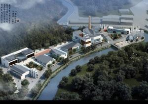 某市区现代中式产业园区规划模型