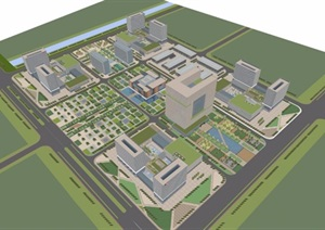 某市科技办公产业园区规划模型