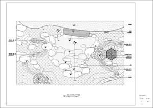 一个假山及水池的结构图