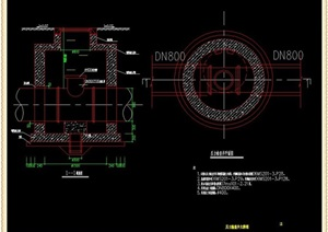 污水压力管道检查井CAD大样图